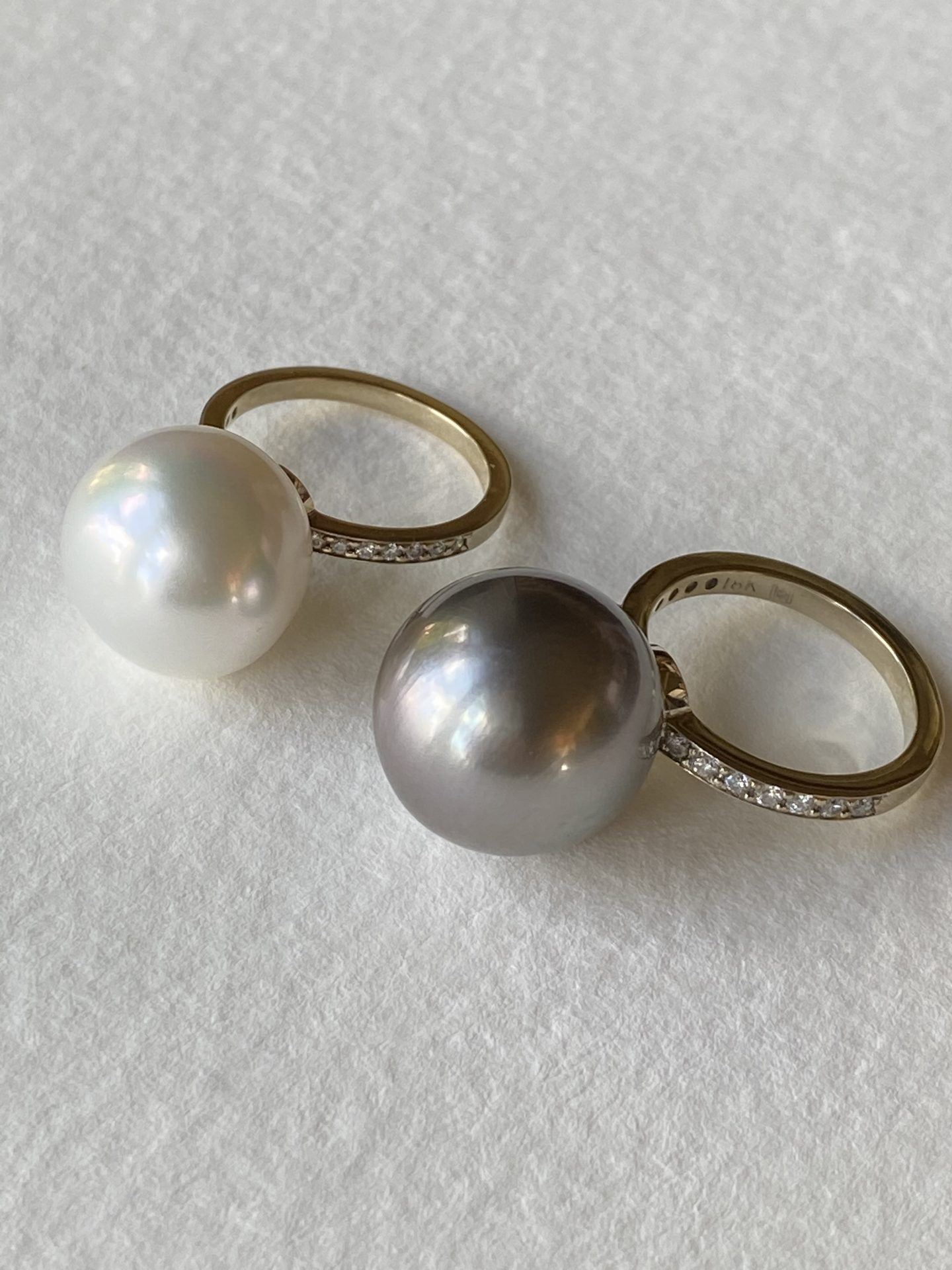 Diamond Band Pearl Rings