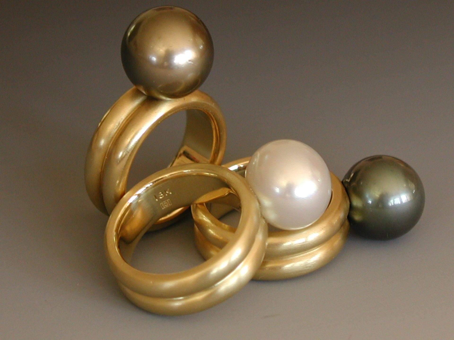 Double Band Pearl Rings